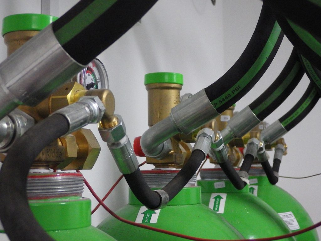 Active Fire Suppression tanks connected to pipes