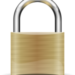 A securely locked brass padlock
